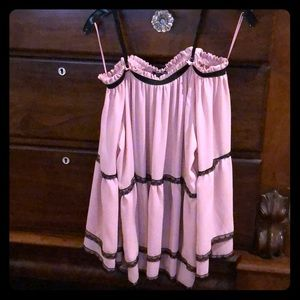 Spaghetti strap off the shoulder pink&black blouse